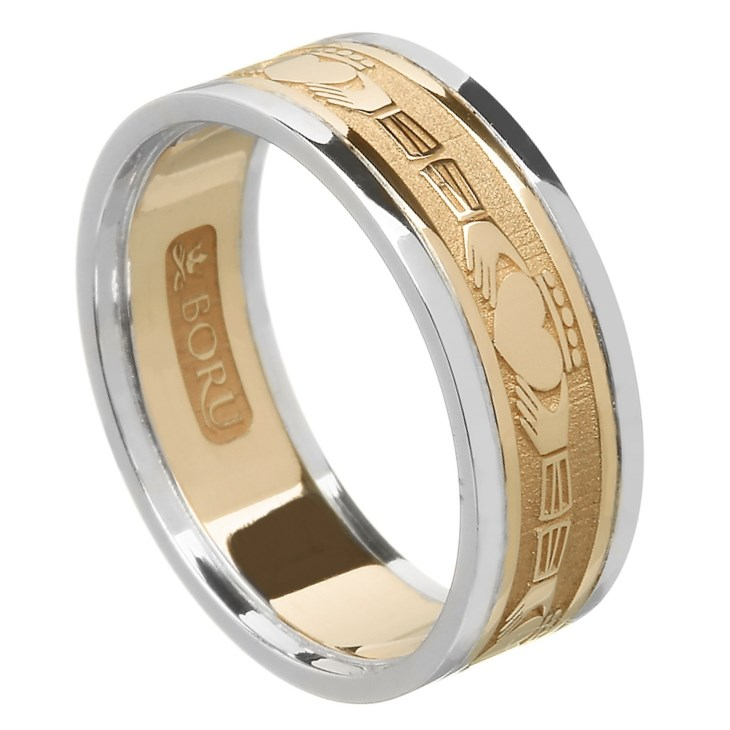 Claddagh Wedding Band with Trim - Ladies