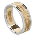 Claddagh Gold Wedding Band with Trim - Ladies