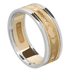 Claddagh Gold Wedding Band with Trim