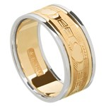 Claddagh Gold Wedding Band with Trim - Gents