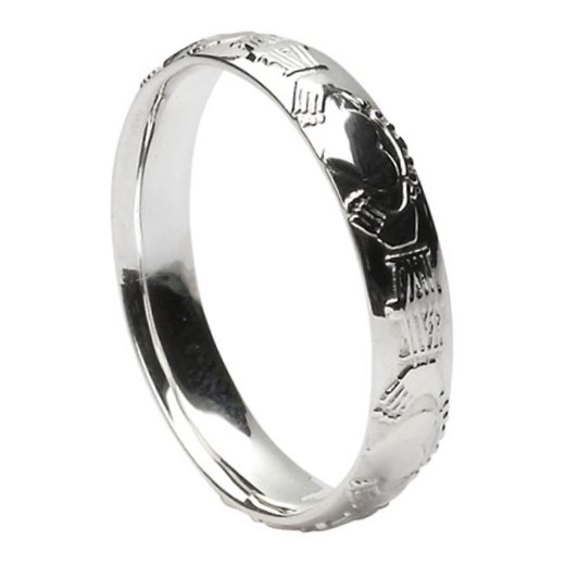 Claddagh Court Shape Silver Wedding Ring - Ladies