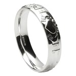 Claddagh Court Shape Silver Wedding Ring - Gents
