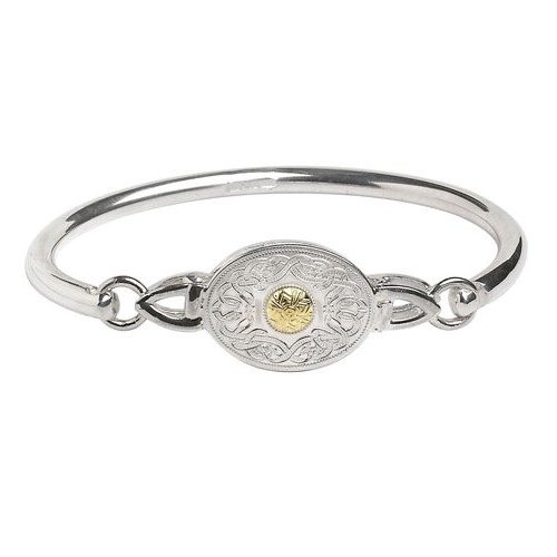 Celtic Warrior Oval Wire Bangle with 18k Gold Bead