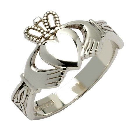 Ladies Trinity Knot Silver Claddagh Ring