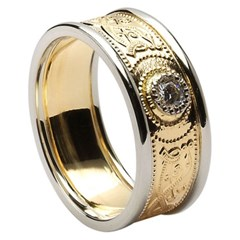 Celtic Warrior Diamond Set Wedding Band with Trim