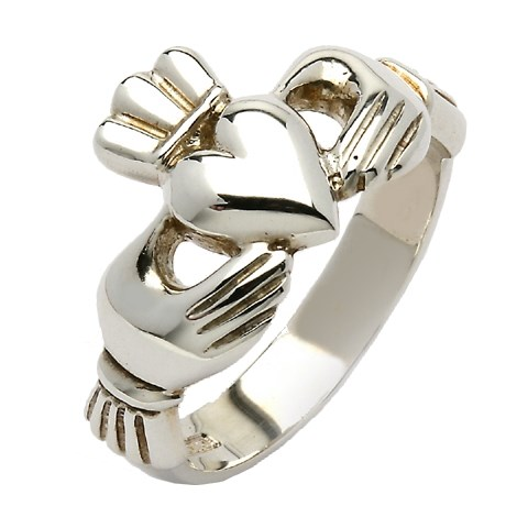 Gents Mo Chroi Silver Claddagh Ring - Yellow Gold
