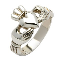 Gents Mo Chroi Silver Claddagh Ring