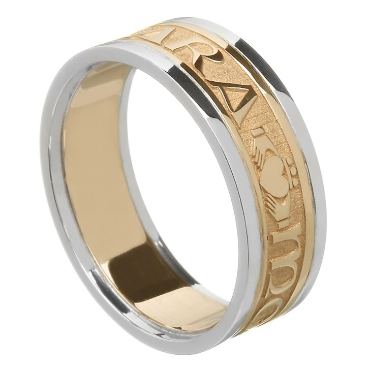 My Soul Mate Gold Wedding Ring with Trim - Ladies