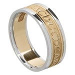 Love Loyalty Friendship Gold Wedding Ring with Trim - Ladies