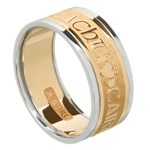 Love Loyalty Friendship Gold Wedding Ring with Trim - Gents