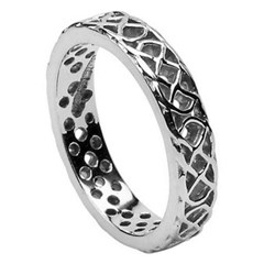 Pierced Celtic Knot Silver Wedding Ring