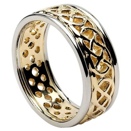 Pierced Celtic Knot Wedding Ring with Trim Celtic Wedding Rings