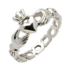 Ladies Mo Chroi Pierced Silver Claddagh Ring