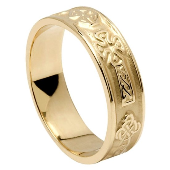 celtic cross yellow gold wedding ring rings from ireland