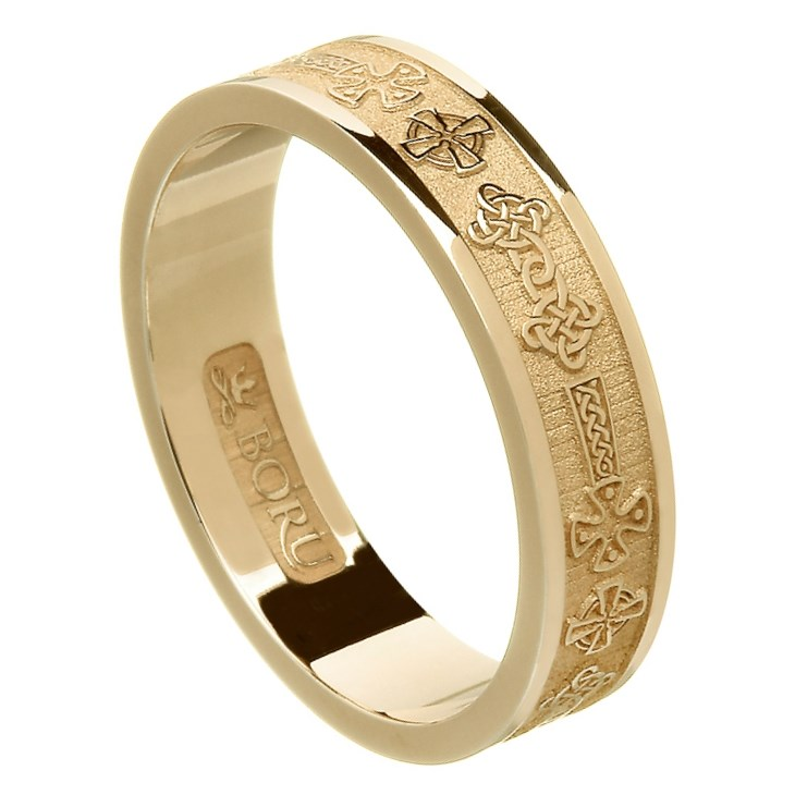 Celtic Cross Yellow Gold Wedding Ring - Ladies