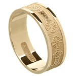 Celtic Cross Yellow Gold Wedding Ring - Gents