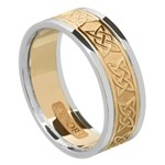 Lovers Knot Gold Wedding Band with Trim - Ladies