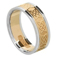 Lovers Knot Gold Wedding Band with Trim