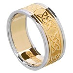 Lovers Knot Gold Wedding Band with Trim - Gents