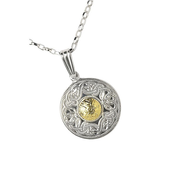 Celtic Warrior Small Pendant  with 18k Gold Bead