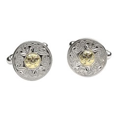 Celtic Warrior Cufflinks with 18k Gold Bead