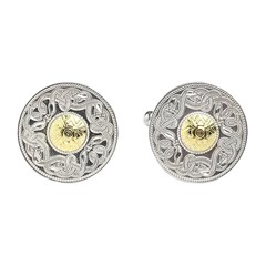 Celtic Warrior Large Cufflinks with 18k Gold Bead
