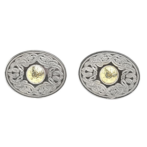 Celtic Warrior Oval Cufflinks with 18k Gold Bead