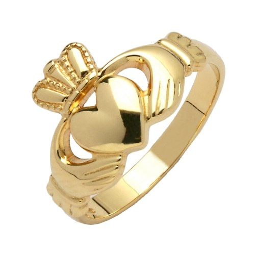 Ladies Traditional Yellow Gold Claddagh Ring