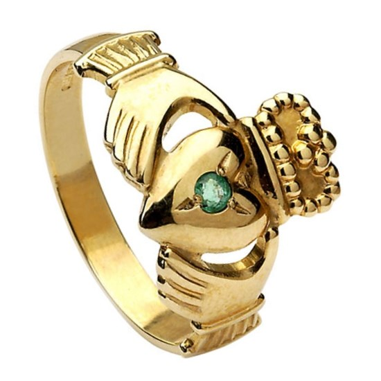 Ladies Claddagh Emerald Set Ring