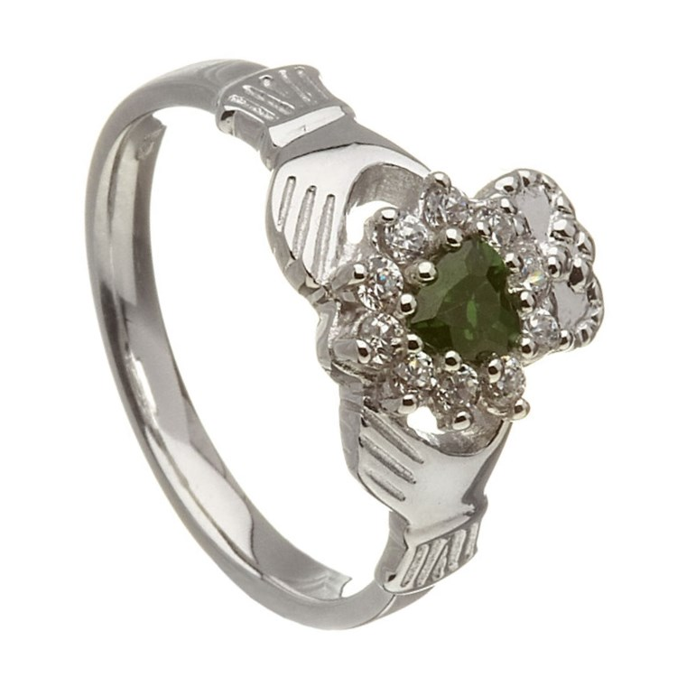 Claddagh Diamond & Emerald Cluster Ring
