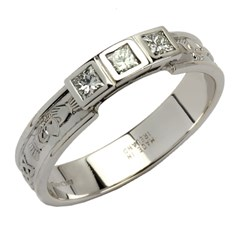 Claddagh Trilogy Ring with 3 Princess Cut Diamonds