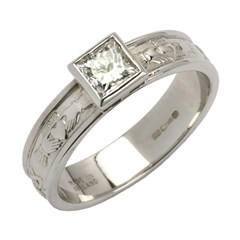 Claddagh Solitaire Ring with Princess Cut Diamond