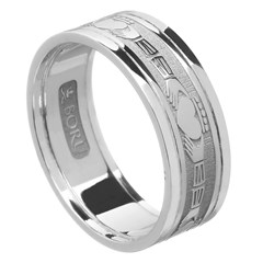 Claddagh White Gold Wedding Band with Trim