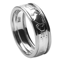 Claddagh Court Shape Wedding Ring with Trim