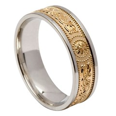 Celtic Warrior White Gold Band with Yellow Gold Center