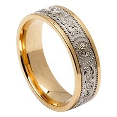 Celtic Warrior Yellow Gold Band with White Gold Center