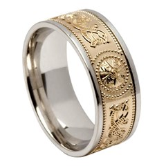 Celtic Warrior Wide White Gold Band with Yellow Gold Center