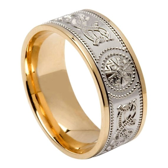 Celtic Warrior Wide Yellow Gold Band with White Gold Center