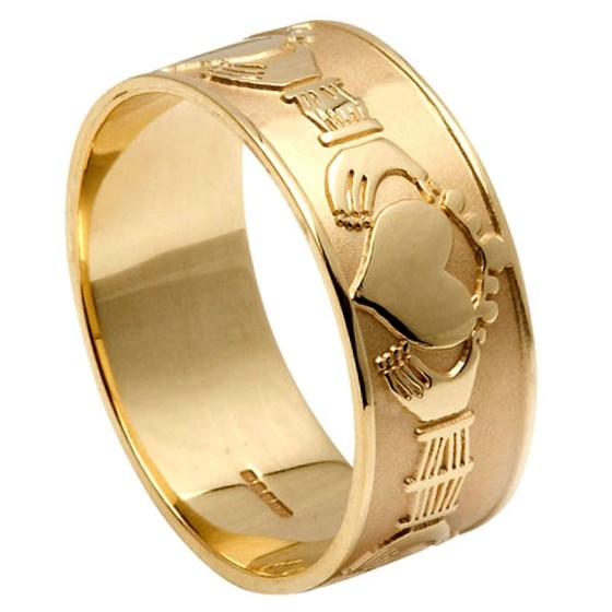 Gents Claddagh Yellow Gold Wide Wedding Band