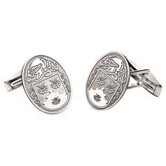 Coat of Arms Large Oval Silver Cufflinks