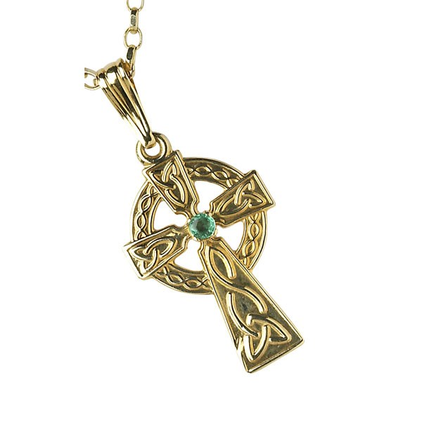 Medium Traditional Celtic Cross with Emerald Set Stone