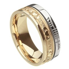 Claddagh Faith Yellow Gold with White Rail Band