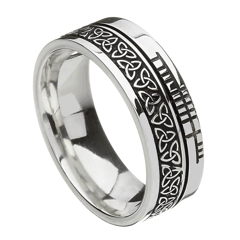 Trinity Knot Faith Silver Band - Oxidized Silver