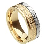Celtic Knot Faith Yellow Gold with White Rail Band
