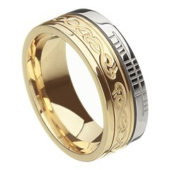 Le Cheile Faith Yellow Gold with White Rail Band