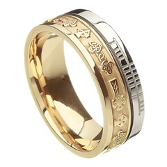 Celtic Cross Faith Yellow Gold with White Rail Band
