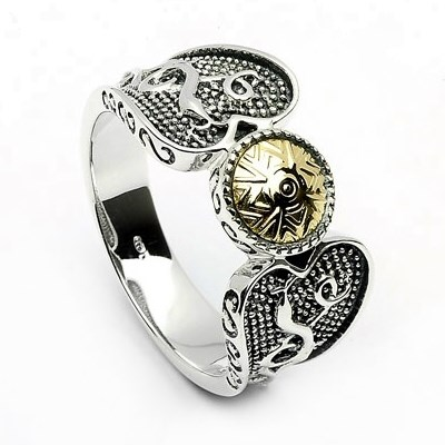 Viking Ring with 18k Gold Bead