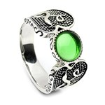 Viking Ring with Green Glass Stone