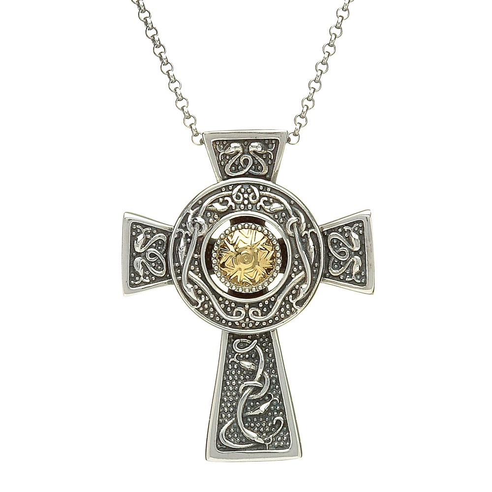 Viking Large Cross With 18k Gold Bead Viking Collection