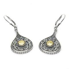 Viking Teardrop Earrings with 18k Gold Bead